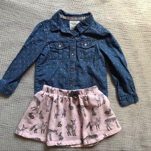 Osh kosh shirt and skirt set size 3t